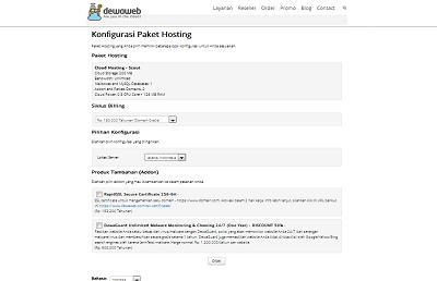 cara membeli paket hosting di dewaweb